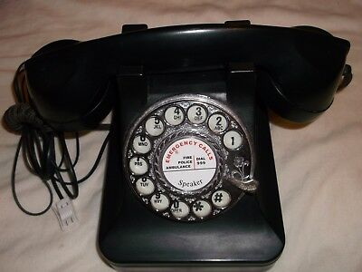 Retro Telephone Traditional black rotary desk round dial Old style 1940s