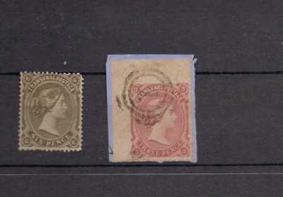 Transvaal. 1878. QV. 2 used stamps. 3d dull rose on piece & 6d olive black.