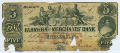 Farmers & Merchants Bank Memphistennessee $5 Obsolete Note