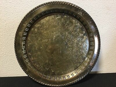"""Vintage WM Rogers Silver Plate Serving Tray 12 1/4"""" Braided edge, Round #82H1"""