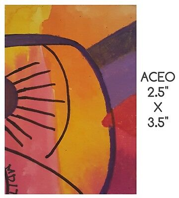 Aceo Bipolar Brut Art Marci Del Mastro Outsider Naive Ooak Abstract   Pink