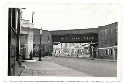 street view of NEW HAVEN RR Train Track past GULF GAS STATION to MOBIL*old Photo