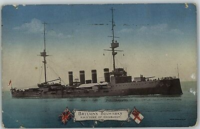 Postcard SHIP Warship Britains Bulwarks HMS Duke of Edinburgh