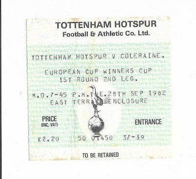 Ticket 1982/83 European Cup Winners Cup - TOTTENHAM HOTSPUR v. COLERAINE