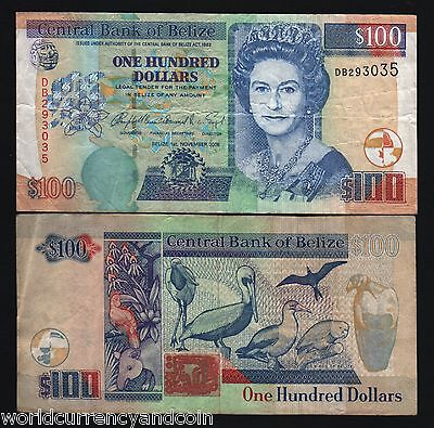 Belize 100 Dollars P71 2006 Queen Tapir Pelican Caribbean Gb Uk Money Bank Note