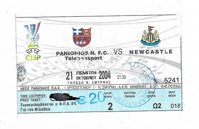 Ticket 2004/05 UEFA Cup - PANIONIOS v. NEWCASTLE UNITED
