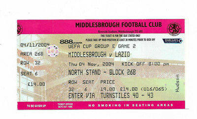 Ticket 2004/05 UEFA Cup - MIDDLESBROUGH v. SS LAZIO