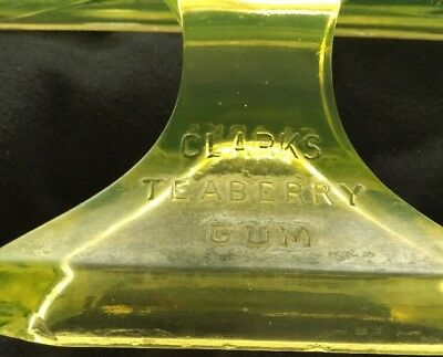 Clarks Teaberry Gum Pedestal Displey Green Vaseline Glass