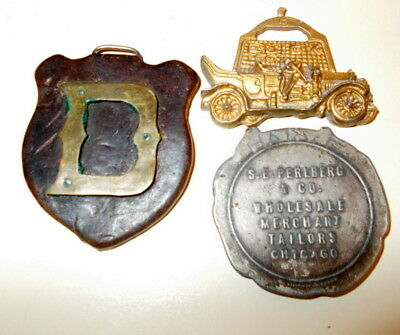 """2 Watch Fobs, Letter """"D"""", Buick 1907 & Advertising Coin Chicago Tailor"""