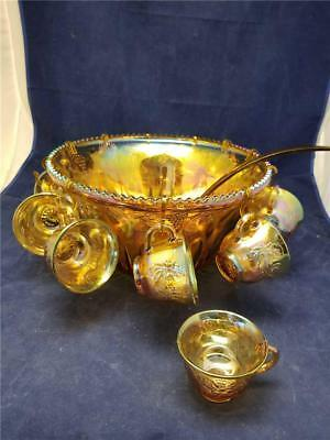 Indiana Glass Gold Carnival Harvest Princess Grape Punch Bowl & 12 Cups T4