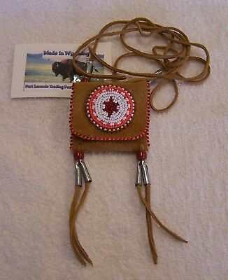 Hand Made Small Beaded Neck Pouch Rendezvous Black Powder Mountain Man 16