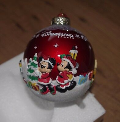 Disney Store Mickey and Friends Red Christmas Decoration Disneyland Paris bauble