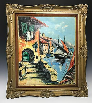 Modernist Landscape with Fishing Boat at the Waterfront Oil on Canvas Painting