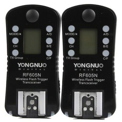 YONGNUO RF-605N Wireless Flash Trigger with LCD+ Cable for Nikon Cameras G7J6