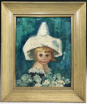 Vintage Retro Oil on Canvas Portrait Painting of a Young Clown Girl Unsigned