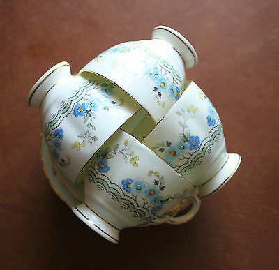 Vintage Plant Tuscan China England Tea Cup & Saucer Lot of 4 Blue Flower