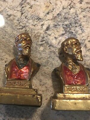 Charles Dickens Vintage Bronze Clad Bookends. Dickens