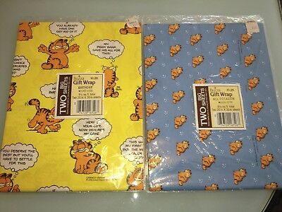 1980's Vintage GARFIELD wrapping paper GIFT WRAP lot of 2 new Rare unopened