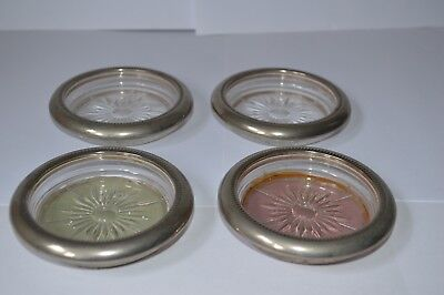 4 Old Silver Plate And Glass Coasters Made In Italy
