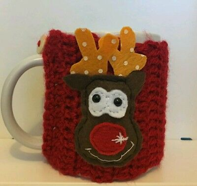 Hand made Rudolph  reindeer mug cosy red-Ideal Christmas Gift