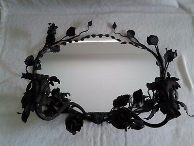 Beautiful Small Vintage Toleware Tole Wall Mirror & Candle Holder Flowers Leaves