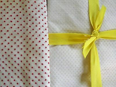 2 Vintage Fabric Dotted Swiss Sheer Gauze White/Red Stiff Yellow Doll Clothing