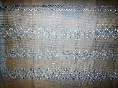 Antique Hand Made Lace Net Curtains Panel Exquisite Perfect Condition