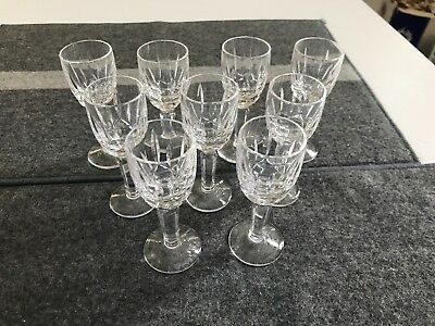 """SET of 9 SUPERB Waterford 4"""" KILDARE CUT CRYSTAL CORDIAL GLASSES Stems EXCELLENT"""