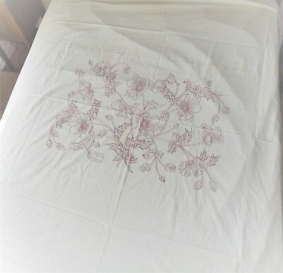 Antique LINEN Sheet Amazing Redwork Embroidery 82x83 Heirloom Quality