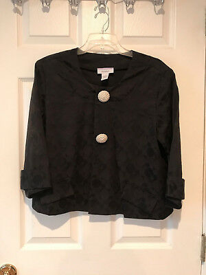 Dress Barn 3/4-Sleeve Evening Swing Jacket ~ Large ~ Pearl Button Detail ~ Black