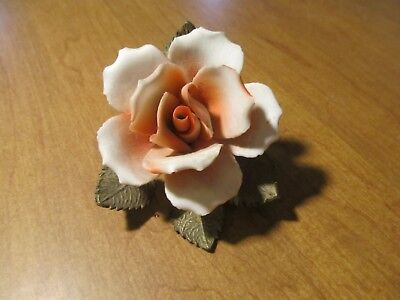 Vintage Porcelain Rose With Brass Leaves White and Orange