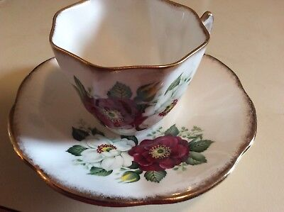 Royal Imperial Bone China Tea Cup & Saucer Gold edge floral Made in England