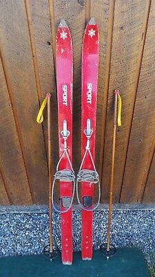 "VINTAGE Wooden 52"" Long RED Skis Signed SPORT Have Metal Cable Bindings + Poles"