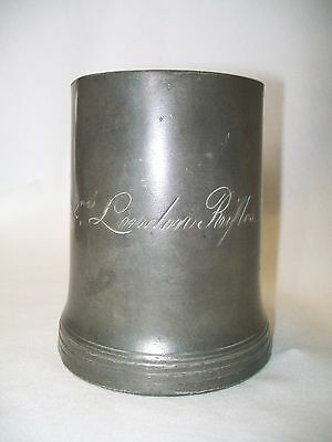Antique 19Thc Pewter 2Nd London Rifles Pint Tankard Sanders & Son Georgian Vict