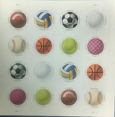 SPORTS BALLS Forever Stamp, Sheet of 16 Stamps