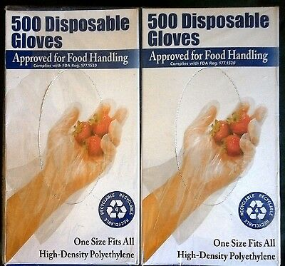 Clean Ones Disposable Food Handling Gloves 1000 Count 2 Boxes x 500 - NEW!