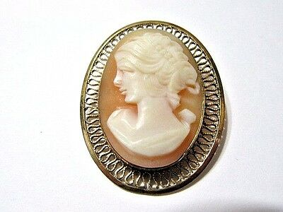 Pin Or Pendant Pretty 12K Gold Filled Cameo Vintage Signed Facing Left