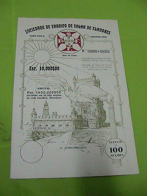 Society of Flanders Sheet Manufacturing 1923  - one hundred  share certified