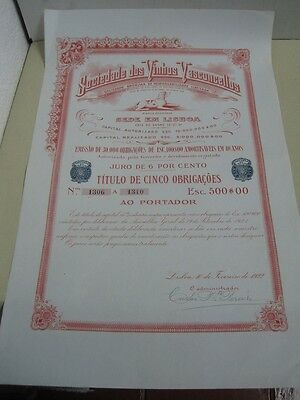 Society of Wine Vasconcellos 1922  - five duty share certified
