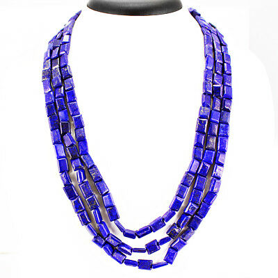 Top Exclusive 472.00 Cts Natural 3 Line Gold Flakes  Lapis Lazuli Beads Necklace