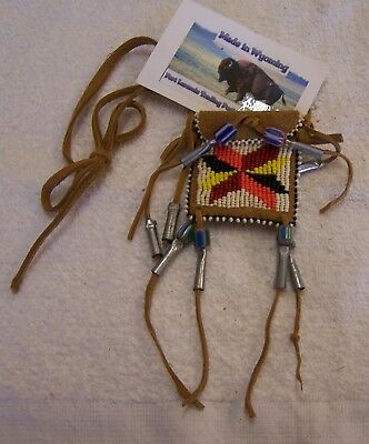 Hand Made Small Beaded Neck Pouch Rendezvous Black Powder Mountain Man 26