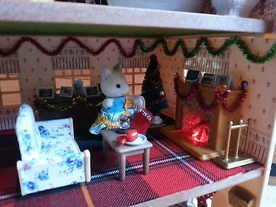 Ooak Sylvanian Families 3 storey town house,  Christmas,working lights,furniture