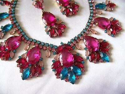 Exquisite Fuchsia Pink Aqua Juliana Style Czech Rhinestone Glass Necklace Set