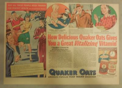 """Quaker Cereal Ad: """"Vitalizing Vitamins!"""" from 1930's Size: 11 x 15 inches"""