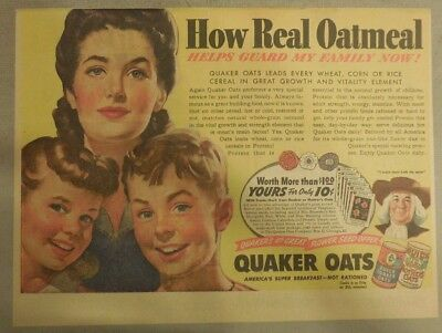 """Quaker Cereal Ad: """"Oats Guard My Family Now!"""" 1940's Size: 11 x 15 inches"""