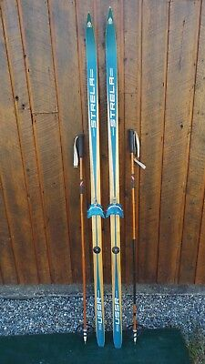 "VINTAGE HICKORY Wooden 74"" Skis Has BLUE Finish STRELLA + Bamboo Poles"