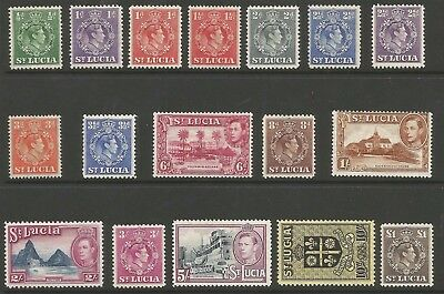 ST LUCIA  SG128a-41 THE 1938-48 GVI SET OF 17 INC SOME BETTER PERFS CAT £80+