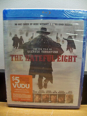 New The Hateful Eight Blu Ray W/$5 Vudu Credit  Free 1St Cls S&h
