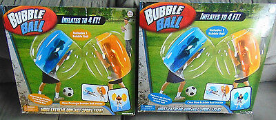 (2) New Bubble Ball..Outdoor Fun (Inflates to 4 ft!) Blue-Orange color