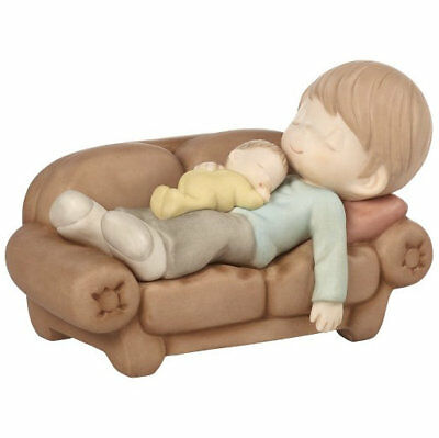 A Moment To Treasure Precious Moments Figurine Dad Baby Sleeping Couch NWOB